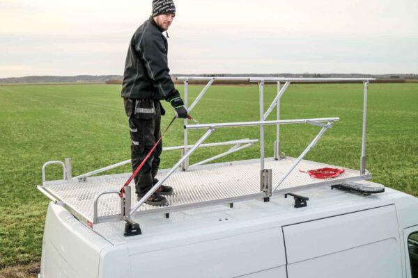 Takplattform för arbete och transport skåpbil 8