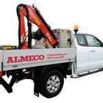 Bakomhyttskåp-framstamsskåp aluminium. Måttanpassad byggd av Almeco. Kranbil Ford Ranger. Pumpservice.
