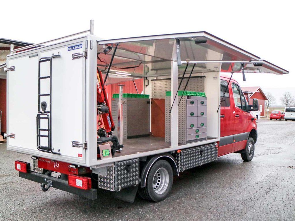 Kranbil pumpservice MB Sprinter Dala Kommunalteknik. Påbyggd av Almeco.